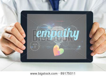The word empathy and autism awareness heart against medical biology interface in black