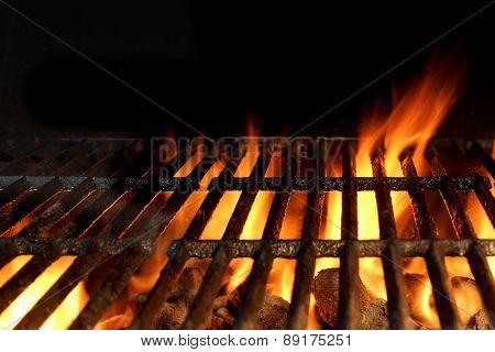 Hot Charcoal Grill With Flames Of Fire
