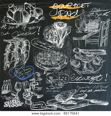 Food - Hand Drawings On Blackboard, Pack