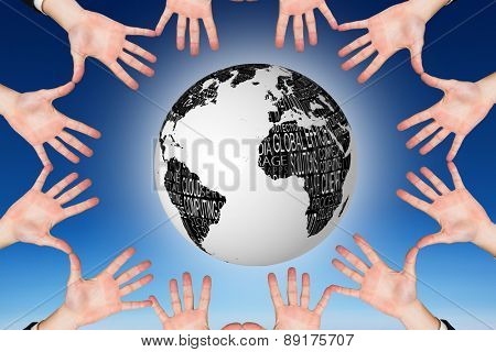Circle of hands against blue sky
