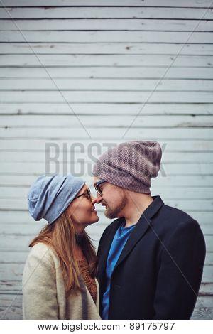 Romantic couple enjoying togetherness outdoors