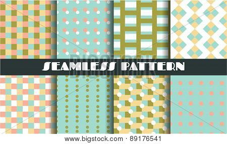 Set, collection, group of six vintage, blue, green, pink, white, yellow seamless patterns with simpl