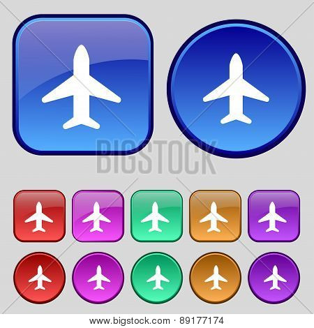 Airplane, Plane, Travel, Flight Icon Sign. A Set Of Twelve Vintage Buttons For Your Design. Vector