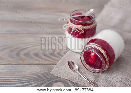 Dessert panna cotta with cherry on wooden background