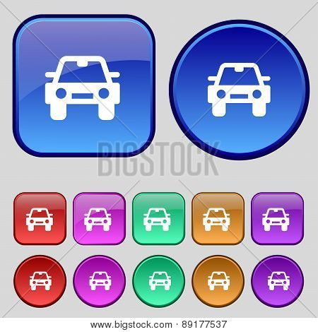 Auto Icon Sign. A Set Of Twelve Vintage Buttons For Your Design. Vector