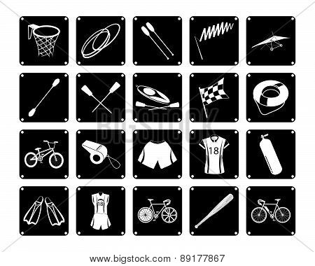 Collection Of Sport Equipment Icons On White Background