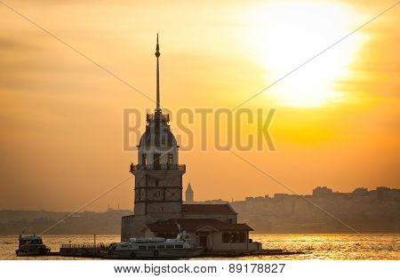 Maiden's Tower Located In The Middle Of Bosphorus Strait, Istanbul, Turkey