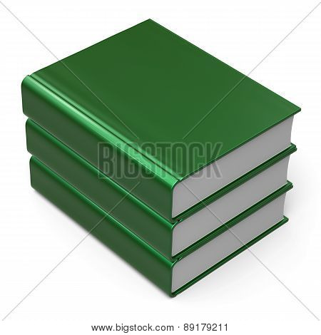 Books Stack 3 Three Blank Cover Green Knowledge Icon