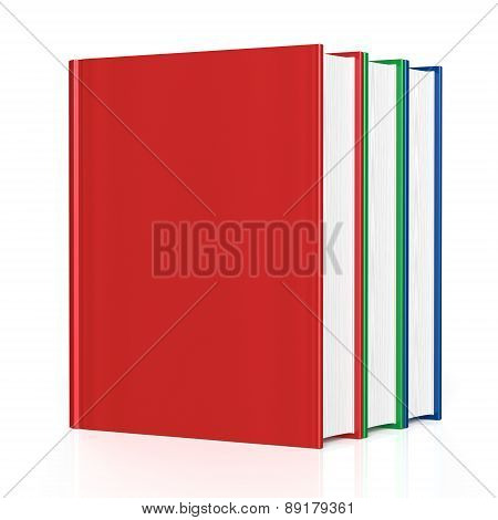 Books Three 3 Blank Cover No Labels Red Green Blue