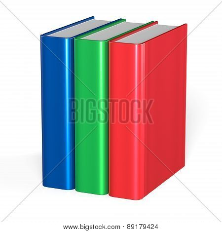Three Books Blank Cover Standing 3 Textbook Workbook