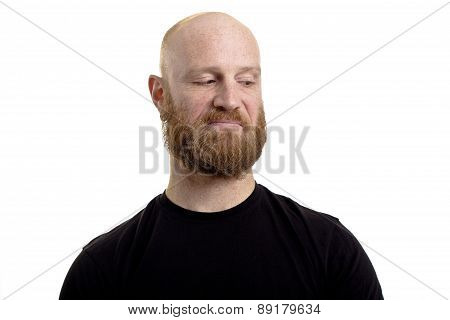 bald man dislikes looking right isolated on white background