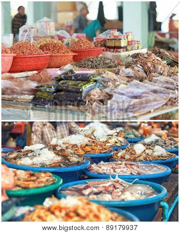 Traditional asian fish market collage