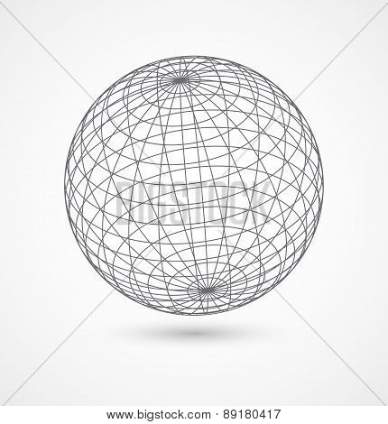 Abstract globe sphere from gray lines on white background