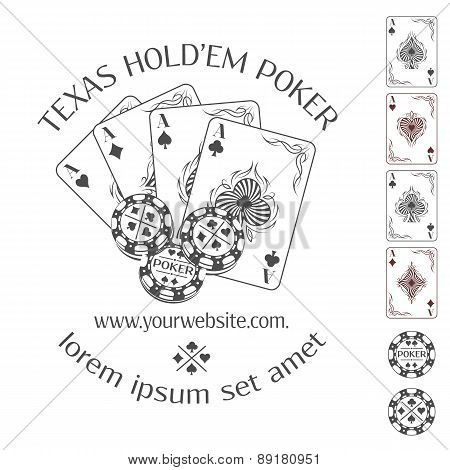 Poker emblem with place for your text.