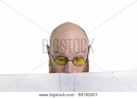 bald man looking surprised at his work isolated on white background