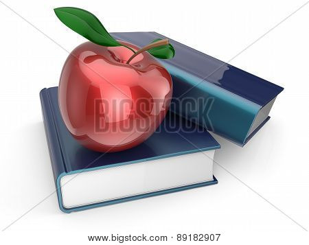 Books And Red Apple Textbook Encyclopedia Studying Wisdom