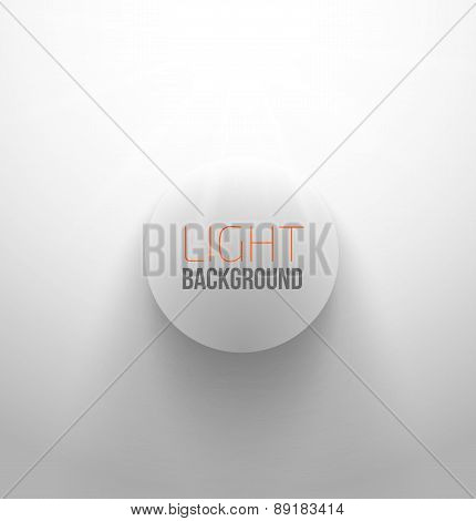 White circle button with light and shadow
