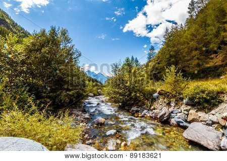 Landscape With Mountains Trees And A River Flow