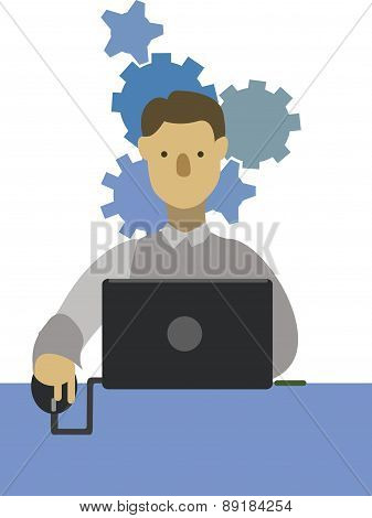 Vector Businessman And Technology.