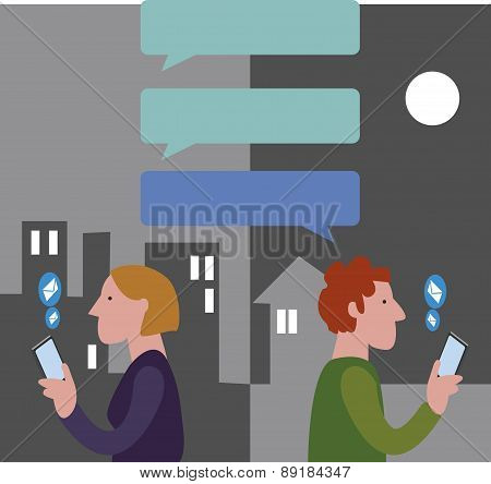 People Chatting With Dialog Speech. Vector Illustration.