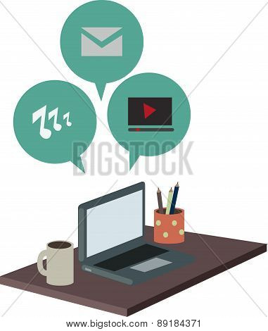 Desktop With Laptop Pc And Social Media Icons