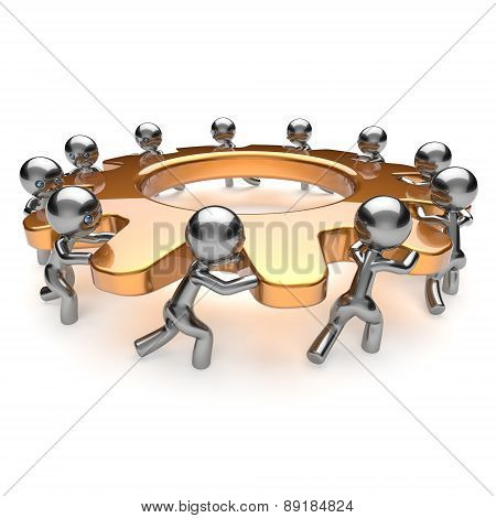 Teamwork Partnership Unity Business Process Gear Workers