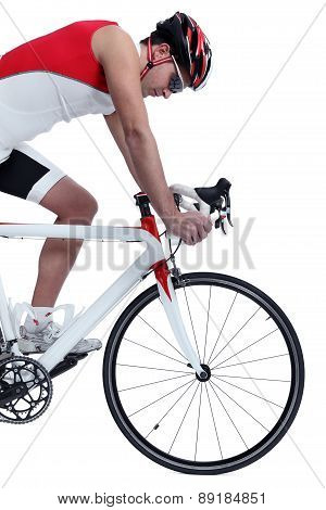 cyclist with bike isolated on white background