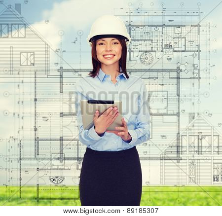 building, developing, consrtuction and architecture concept - friendly young smiling businesswoman in white helmet