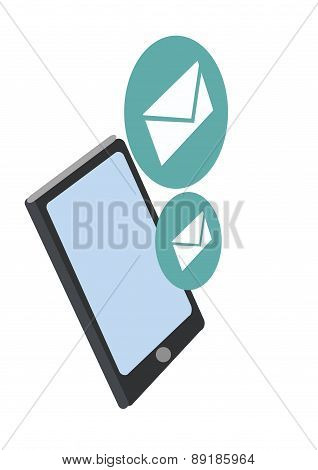 Smartphone With New Message. Vector Illustration
