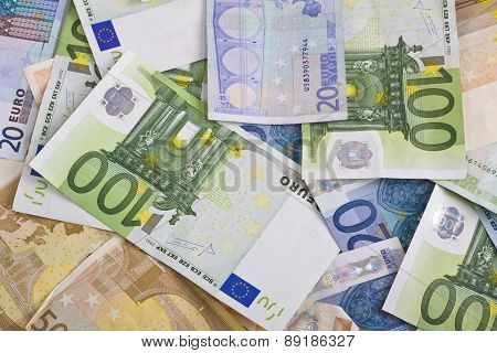 euro banknotes money hundred fifty twenty isolated