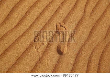 Footprint On Sand Of Desert