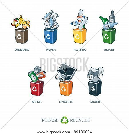 Trash Segregation Bins For Organic Paper Plastic Glass Metal Mixed Waste