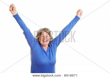 Happy Senior Citizen Cheering