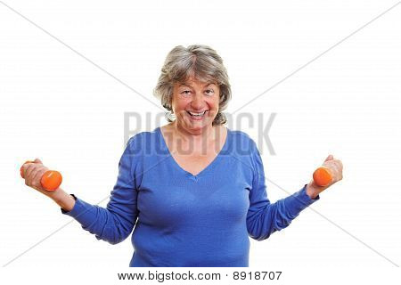 Elderly Woman With Dumbbells