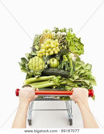 Pushing Healthy Shopping Cart