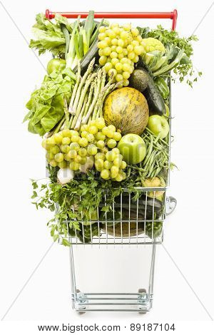 Shopping Cart Full Of Vegetables And Fruits