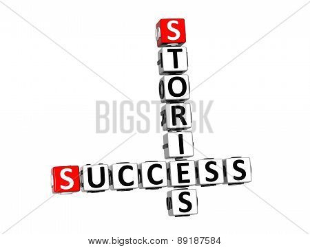 3D Crossword Success Stories Over White Background.