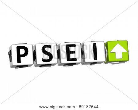 3D Psei Stock Market Block Text On White Background