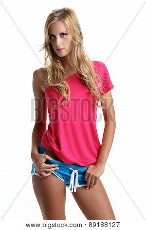 blond model in studio dressed Fitness