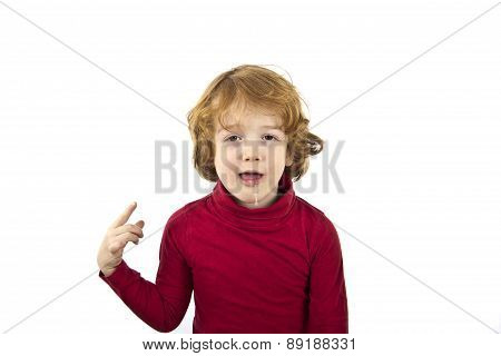 cute red hair child drooling isolated on white background