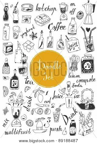 Big doodle set - coffee, tea, juice and other beverages