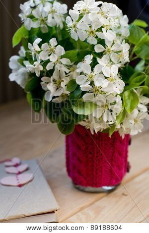 A Bouquet Of White Spring Flowers And Old Vintage Notebook With Bookmark In The Form Of Hearts, Whic