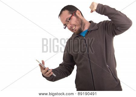 angry man sending text message on his mobile phone isolated on white background