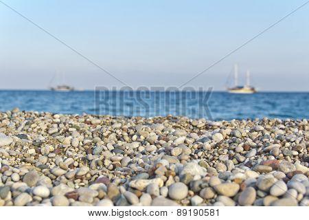 mediterranean sea and pebbles beach