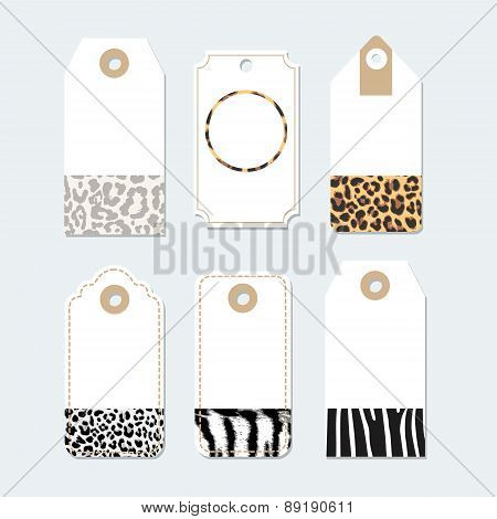 Set Of Tags, Labels With Trendy Animals Skin Patterns, Vector