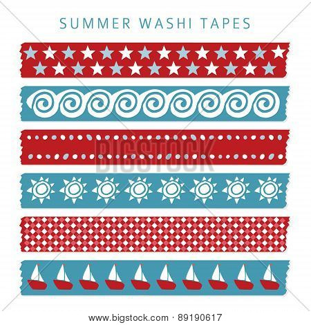 Set Of Summer Sea Washi Tapes, Ribbons, Vector Elements, Patterns