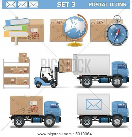Vector Postal Icons Set 3