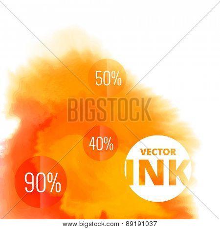 vector water ink splash burst in orange color design illustration