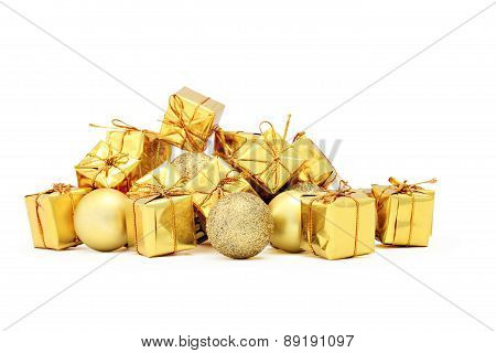 Christmas decorations packages and golden balls