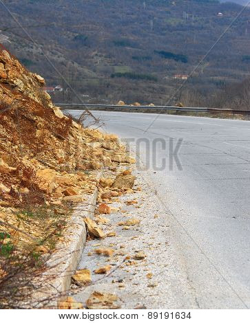 Landslide Of Rocks On The Asphalt Road